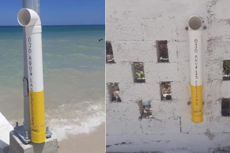 Instalan contenedores artesanales para colillas de cigarro en Telchac Puerto