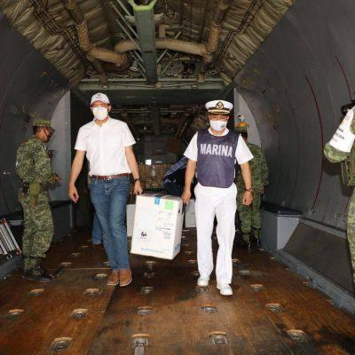 Llegan a Yucatán 8,190 dosis para la segunda dosis a personal de salud y a adultos mayores