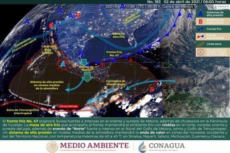 Frente frío 47 afectará todo el Viernes Santo en Yucatán: nublados, lloviznas y fresco