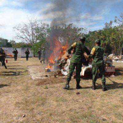 Incineran narcóticos decomisados en Yucatán