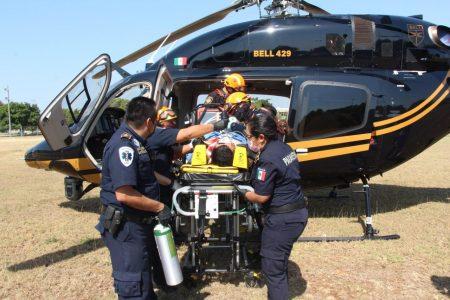 La SSP traslada en helicóptero a un herido de gravedad