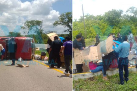 Vuelca camioneta con familia al estallar una llanta: cinco heridos