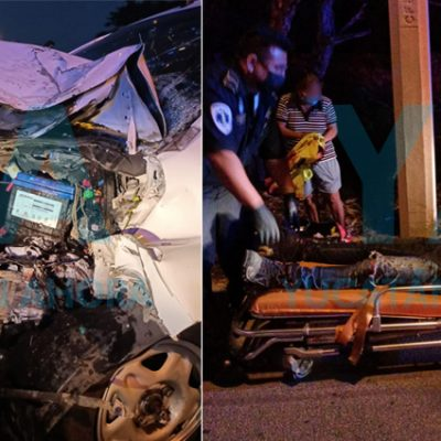 Joven conductor sufre fuerte choque tras dormitar en Komchén