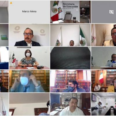 Mauricio Vila analiza el plan de regreso a clases presenciales con funcionarios del Gobierno federal