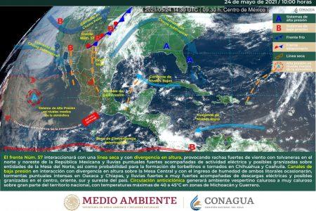 Pronostica Conagua que continuarán las lluvias en la Península de Yucatán, más fuertes en Campeche