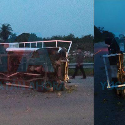 Conductor sale ileso de volcadura en el tramo Xcalacoop-Kaua