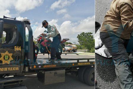 Derrapa motociclista de 73 años debido a vehículo que se le atravesó en Las Américas