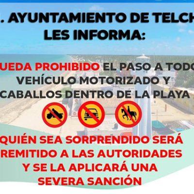 Prohibido el ingreso de vehículos motorizados y caballos a playa de Telchac Puerto