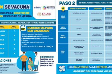 Del 29 de junio al 4 de julio vacunarán con primera dosis a personas de 30 a 39 años en Mérida