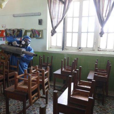 Realizan labores de desinfección en casillas para la jornada electoral del domingo 6 de junio