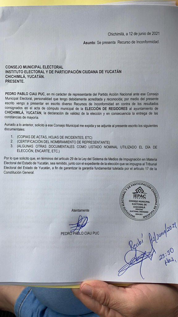 El PAN impugna los resultados en Chichimilá: denuncia graves anomalías