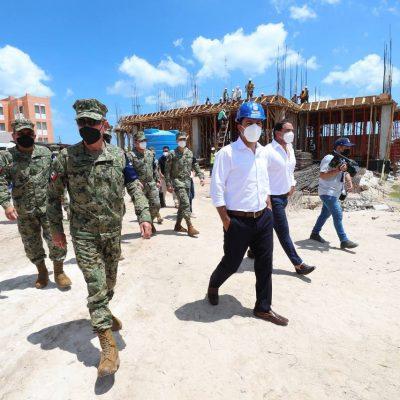 Supervisan avances en la construcción del Hospital General Naval en Progreso