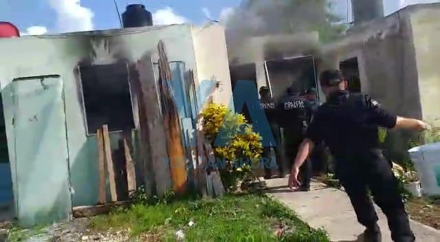 Se quema taller de electrónica habilitado en una casa de Villas de Oriente Kanasín