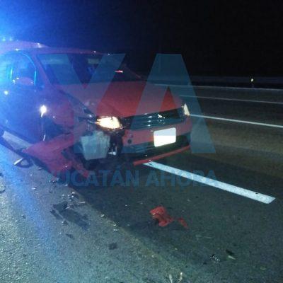 Chocan por alcance en la carretera Mérida-Progreso: cuatro menores golpeados