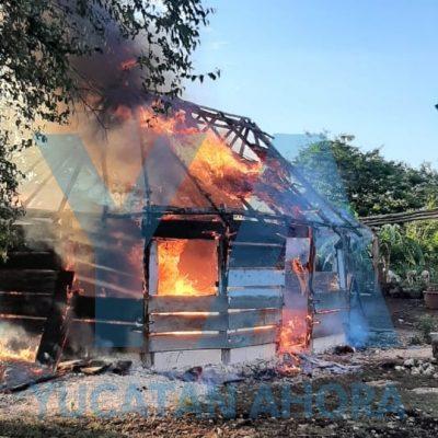 El fuego la deja sin casa