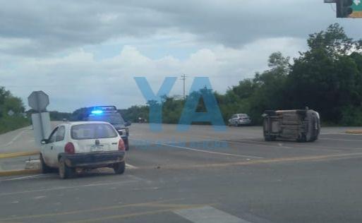 Mensaje del choque, en la carretera Mérida-Cancún