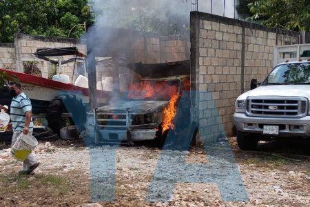 Se incendia volquete en un predio de la Jesús Carranza