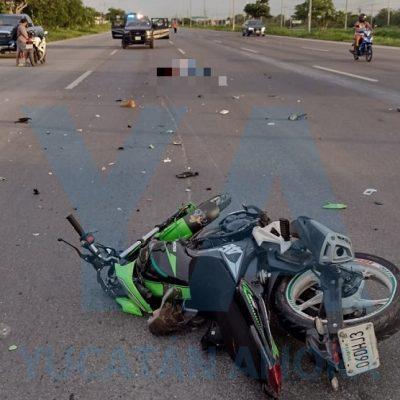 Fallece joven motociclista al chocar contra una pipa en la vía Mérida-Progreso