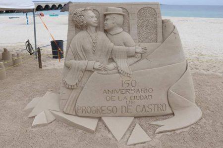 Inauguran exposición de esculturas de arena en Progreso