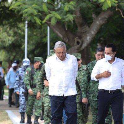 Mauricio Vila se reúne con el presidente López Obrador en la Base Aérea de Mérida
