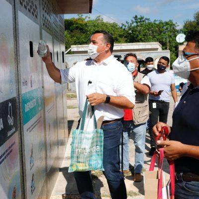 Renán Barrera inaugura el Punto Verde Tetra Pak en la comisaría de Dzununcán