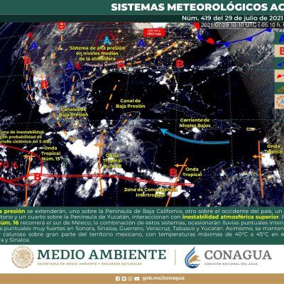 Onda tropical y un canal de baja presiones mantendrán la racha de lluvias en Yucatán