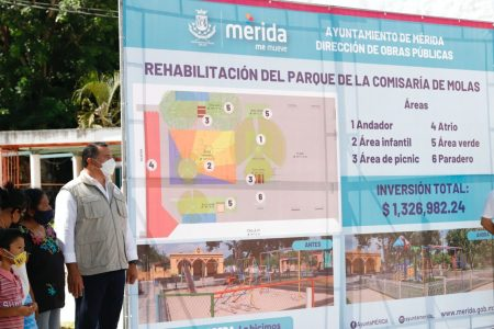 El alcalde Renán Barrera inaugura calles y rehabilitación del parque en Molas