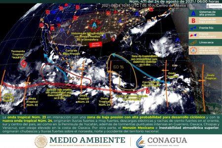 Conagua pronostica un martes de nublados y tormentas en Yucatán