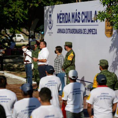 Ejército Mexicano se suma a la jornada extraordinaria de limpieza 'Mérida Más Chula'