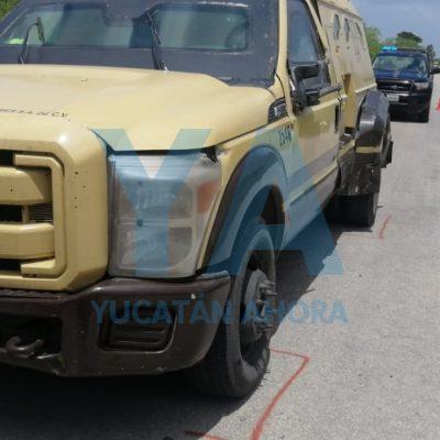 Impactante accidente: moto choca contra camioneta de valores