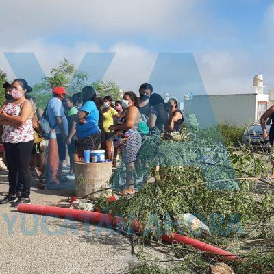Protestan tras accidente en Kanasín que dejó seriamente lesionados a dos niños