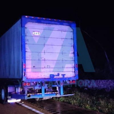 Camión de carga impacta un auto estacionado en carretera: un muerto