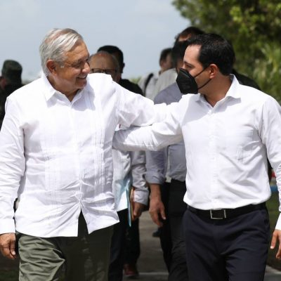 El Gobernador Mauricio Vila y el presidente López Obrador dan seguimiento al Tren Maya en Yucatán