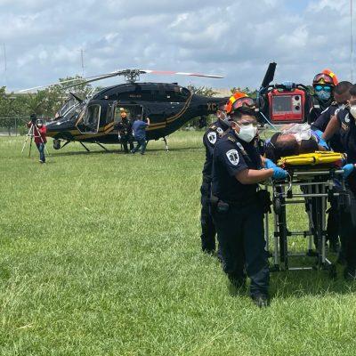 Helicóptero de la SSP traslada a joven de 19 años con embarazo complicado