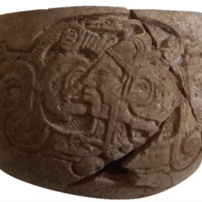 Hallan vasija maya con antigüedad de 14 siglos, perteneciente a la nobleza de Oxkintok