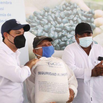 Llegan a Tixcacalcupul apoyos para que productores vuelvan a sembrar, tras el huracán Grace