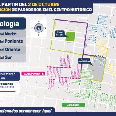 El acercamiento de paraderos en el centro de Mérida, a partir del 2 de octubre
