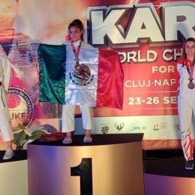 Joven yucateca se corona campeona en el Mundial Juvenil de Karate, en Rumania