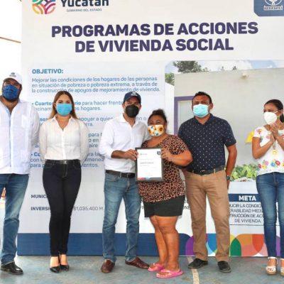 Con el apoyo del Gobierno del Estado, familias de Hoctún tendrán mejores viviendas