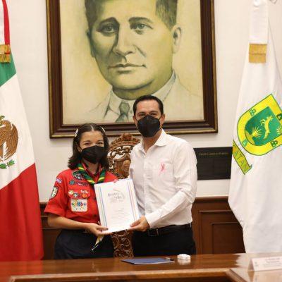 La joven scout Andrea Paola López Bautista asume el cargo de Gobernadora por un día